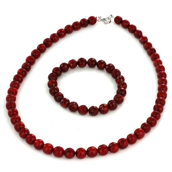 Sterling Silver Red Dyed Coral Faceted Beaded Bracelet and Necklace Set