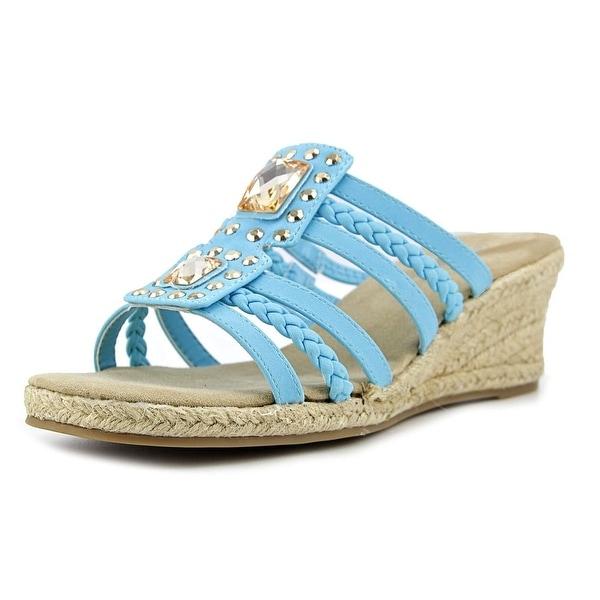 Easy Street Bazinga Women Open Toe Synthetic Blue Wedge Sandal