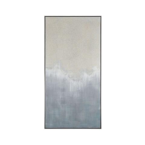 "56"" Cream and Gray Crash Framed Abstract Wall Art Decoration"