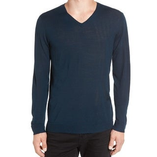 John Varvatos NEW Blue Mens Size Large L Luxe V-Neck Wool Sweater