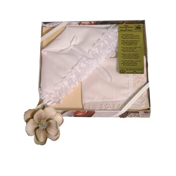 Little Things Mean A Lot Little Girls White Bonnet Towel Hankie Lace Trousseau - One Size