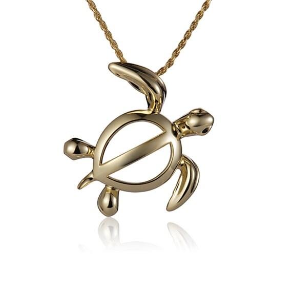 "Turtle Necklace 14k Gold Pendant 18"" Chain"