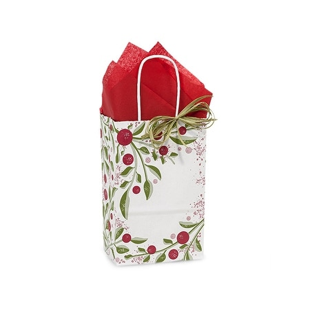"Pack of 25, Floral Rose Tuscan Christmas Paper Bags 5.5 X 3.25 X 8.5"" 100% Recyclable, Made In Usa"