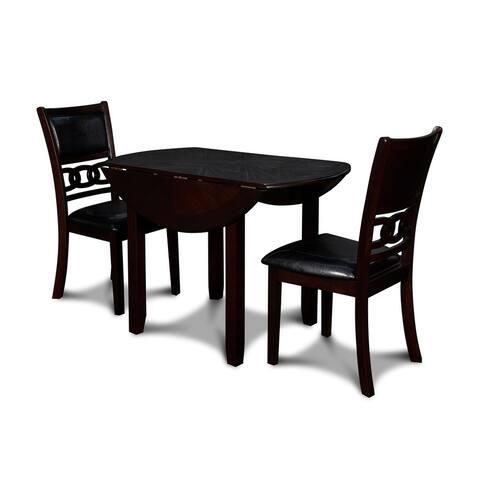 Gia 42-inch Dining Set w/ Drop Leaf Table & 2 Chairs, Ebony