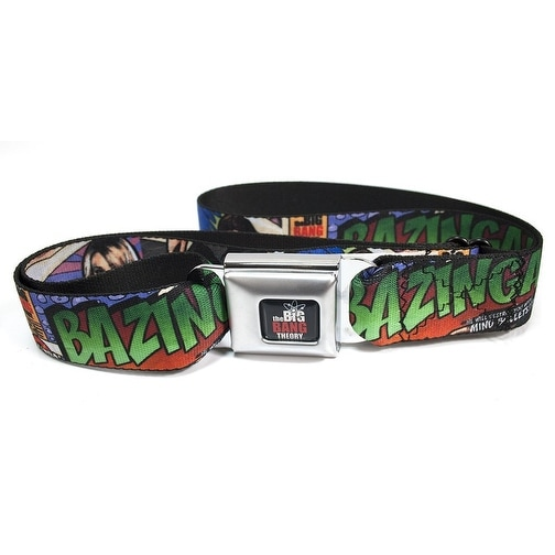 The Big Bang Theory Comic Strip Bazinga Adult Seatbelt Belt-Holds Pants Up