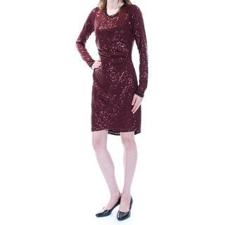 RACHEL ROY $119 Womens 1195 Burgundy Ruched Sequined Long Sleeve Dress XXL B+B