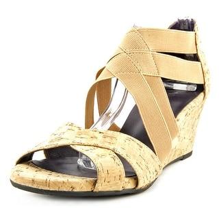 Vaneli Mireil Open Toe Canvas Wedge Sandal