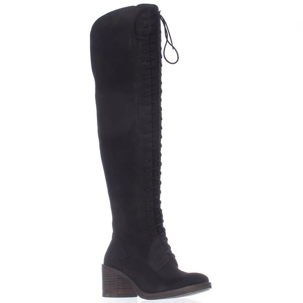 Lucky Brand Riddick Lace Up Over The Knee Boots, Black