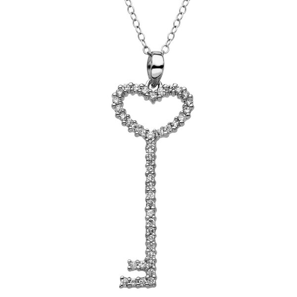 Heart Key Pendant with Cubic Zirconia in Sterling Silver - White