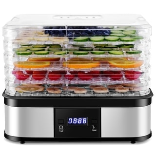 Costway Food Dehydrator Preserver 5 Tray Fruit Vegetable Dryer Timer Temperature Control - as pic