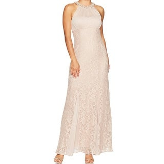 Nightway Beige Womens 12P Petite Glitter Lace Illusion Gown Dress