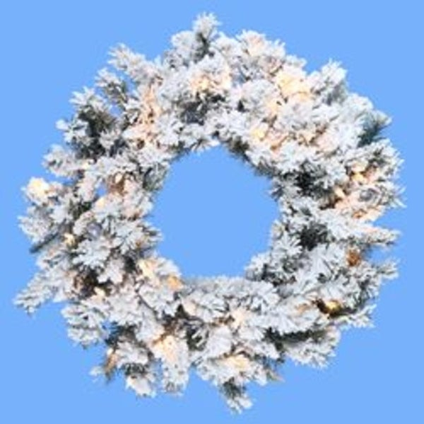 "30"" Pre-Lit Flocked Norway Pine Artificial Christmas Wreath - Clear Lights - WHITE"