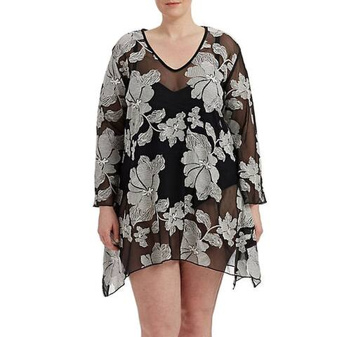 J. Valdi Womens Swimwear Black Size 2X Plus Cover-Up Bell Sleeve