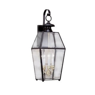"""Norwell Lighting 1067 Old Colony 3 Light 28"""" Tall Outdoor Wall Sconce with Clear Glass Shade"""