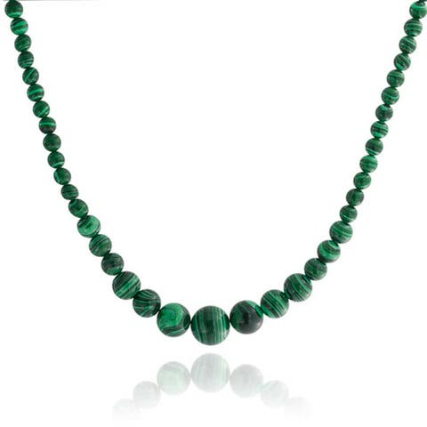 Green Created Turquoise Graduated Strand Necklace Silver Plated Clasp