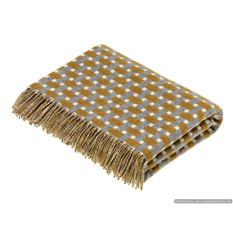 Merino Lambswool Throw Blanket - Rectangle - Gold / Gray