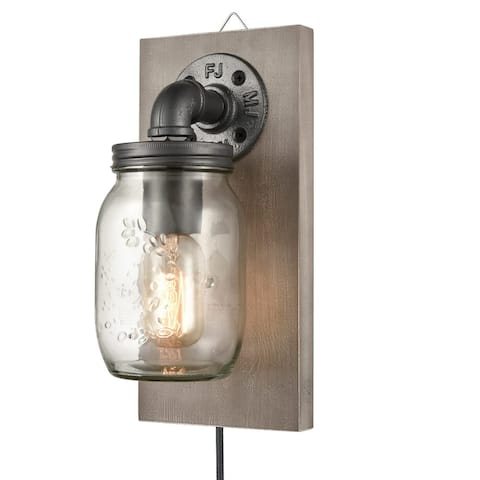 Limoux Rustic Mason Jar Wall Sconce Hanging Wall Light, Plug-in