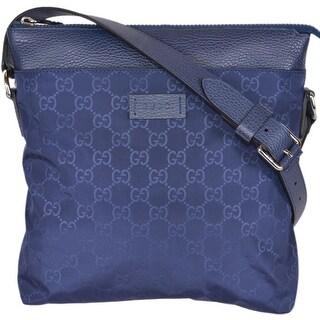 "Gucci 510342 Blue Nylon Leather GG Guccissima Crossbody Messenger Purse Bag - 10"" x 11"" x 2.5"""