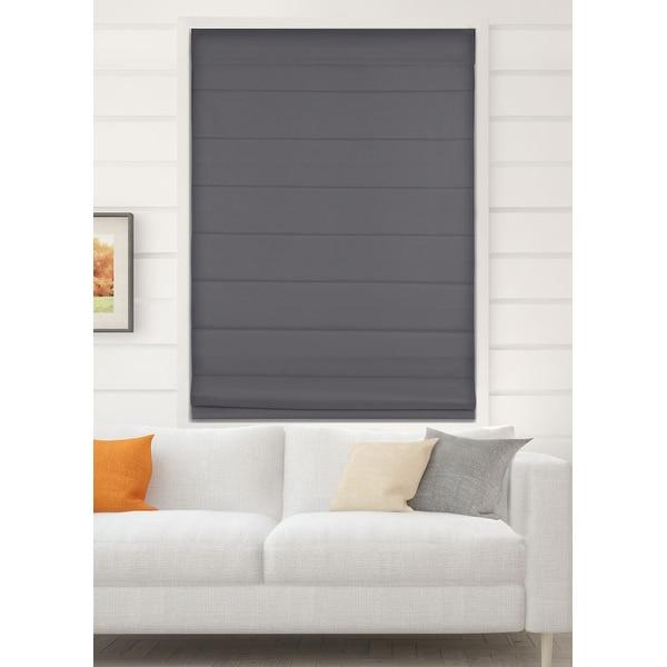 Arlo Blinds Graphite Room Darkening Cordless Lift Fabric Roman Shades. Opens flyout.