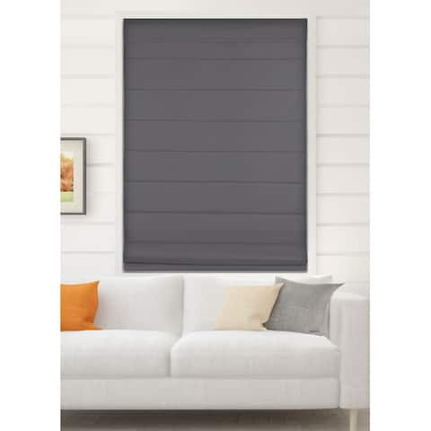 Arlo Blinds Graphite Room Darkening Cordless Lift Fabric Roman Shades