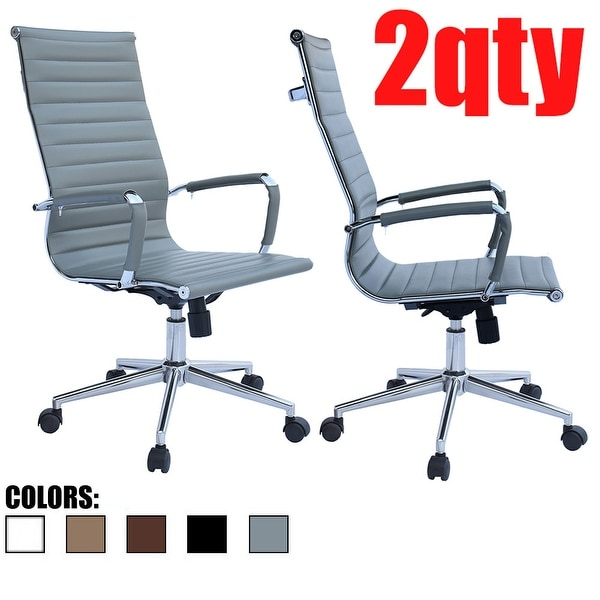 Set of 2 Gray Executive Ergonomic High Back Modern Office Chair Ribbed PU Leather Swivel for Manager Conference Computer. Opens flyout.