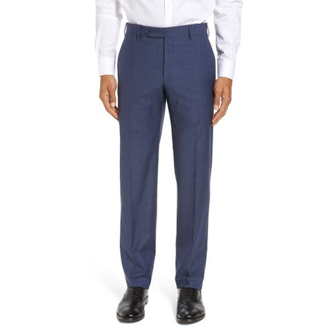 Private Label Mens Nailhead Wool Pants 38 Blue - Made In Italy