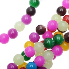 Dyed Candy Jade Gemstone Beads, Round 8mm, 14 Inch Strand, Multi Color