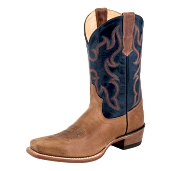 Old West Cowboy Boots Mens Narrow Square Reinforced Tan Fry Blue