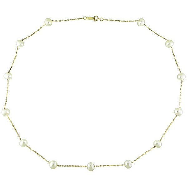 Miadora 10k Yellow Gold White Cultured Freshwater Pearl Necklace (5.5-6mm). Opens flyout.