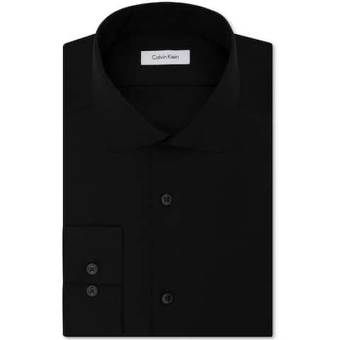 Calvin Klein Mens Performance Non-Iron Button Up Dress Shirt