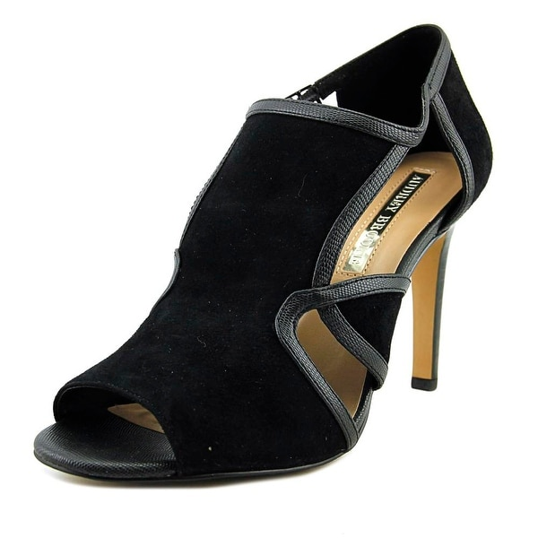 Audrey Brooke Modena Women Open Toe Suede Black Sandals