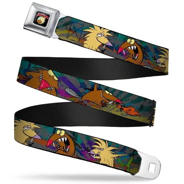 Angry Beavers Logo Full Color Black Daggett & Norbert Poses3 Rays Grays Seatbelt Belt