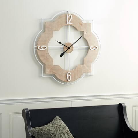 Brown Wood Farmhouse Wall Clock 35 x 35 x 2 - 35 x 2 x 35