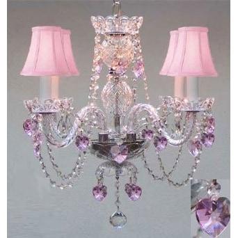 Swarovski Crystal Trimmed Chandelier Lighting With Crystal Pink Shades
