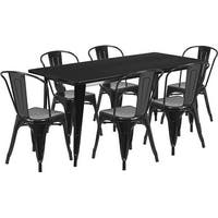Brimmes 7pcs Rectangular 31.5'' x 63'' Black Metal Table w/6 Stack Chairs