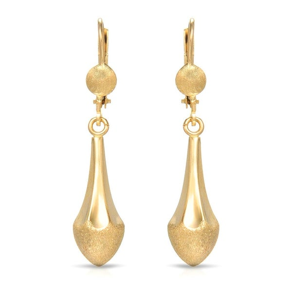 Mcs Jewelry Inc 10 KARAT YELLOW GOLD LEVERBACK DANGLING EARRINGS (1.5 INCHES)