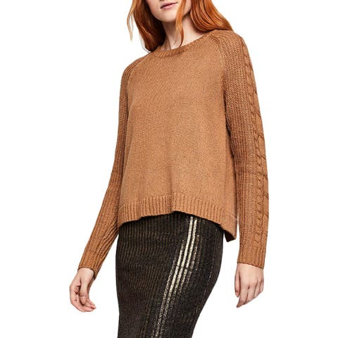 BCBGeneration Womens Pullover Sweater Cable Knit Crossover