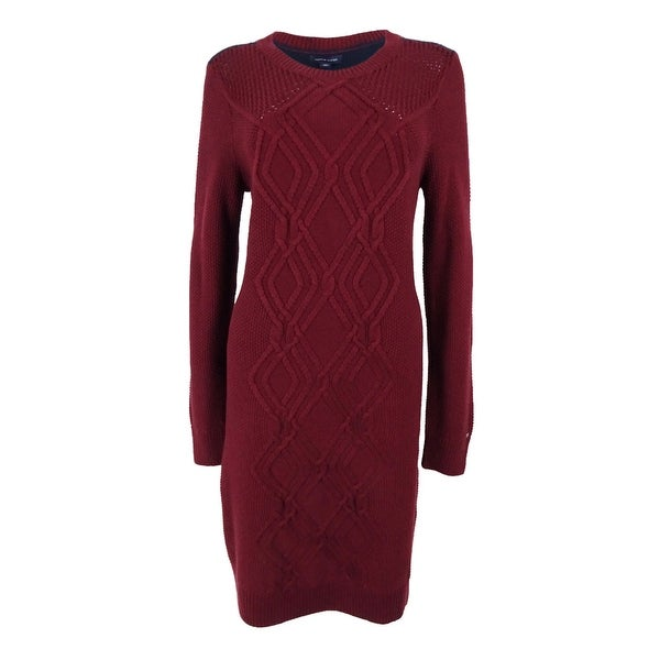 Shop Tommy Hilfiger Women S Adela Cable Knit Sweater Dress