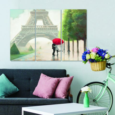 Designart 'Paris Romance Couples III' French Country Canvas Wall Art