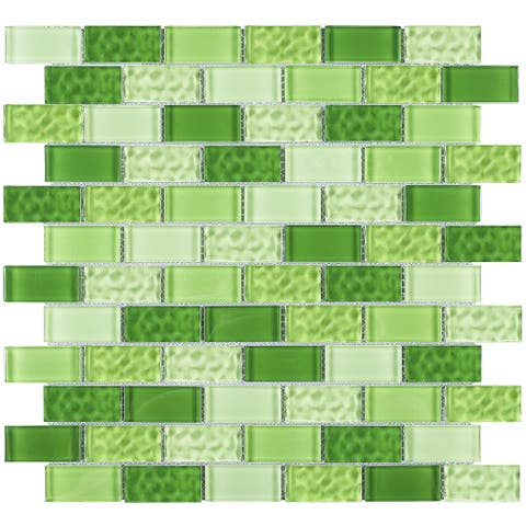 """TileGen. Cockles 1"""" x 2"""" Glass Mosaic Tile in Green Wall Tile (10 sheets/9.6sqft.)"""