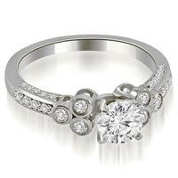 1.17 cttw. 14K White Gold Round Cut Diamond Engagement Ring