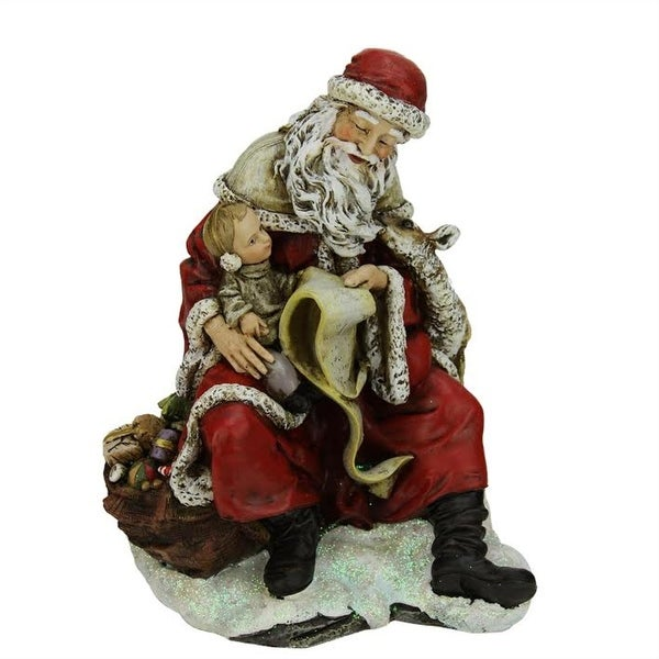"9"" Santa Claus with a Child and Reindeer Christmas Table Top Figure Decoration"