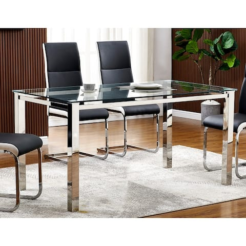Best Master Furniture 63 Inch Rectangular Dining Glass Table - Clear Glass with Silver Legs