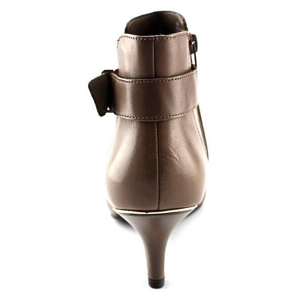 Anne Klein Womens FAERYN Leather Almond Toe Mid-Calf Fashion Boots