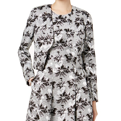 Nine West Gray Womens Size 12 Floral Croped Open Front Blazer