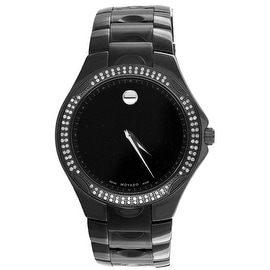 Movado Luno Sports Watch Museum Dial All Black Real Diamonds Party Wear High End