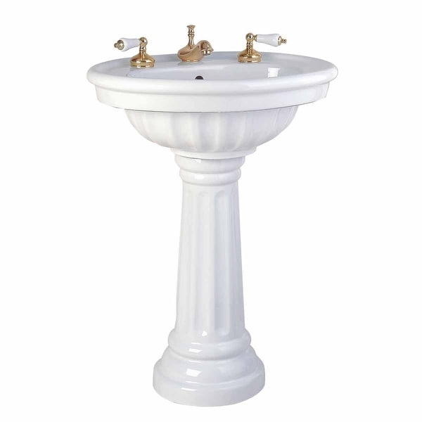 Bathroom Single Pedestal Sink White China Fluted Philadelphia