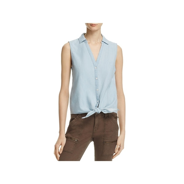 cc343530cb Shop Joie Womens Button-Down Top Chambray Tie-Hem - l - Free ...