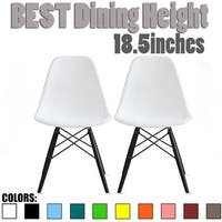 2xhome - Set of 2 White Plastic Chair Black Wooden Base Dining Designer Commercial Modern Desk Eiffel Retro Desk Kitchen - N/A