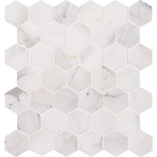 "MSI SMOT-CAL-2HEXH Calacatta Cressa - 2"" x 2"" Hexagon Mosaic Tile -"